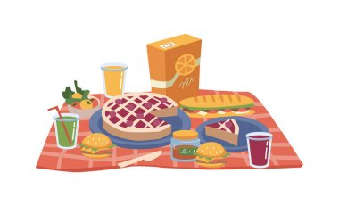 Cartoon picnic food and drinks, pack of juice, snacks, sandwiches and bakery cake, hamburger and apples on plate, glasses of soft drinks. Cheeseburgers or hamburgers, jam and fruits, checkered napkin icon