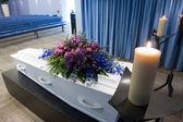 Coffin in mortuary