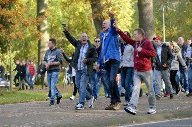 Demonstrating against refugee camp