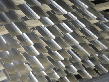 Aluminum lines stock rack in a factory.