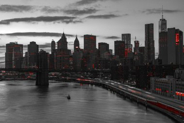 New York City Red Lights in Black and White