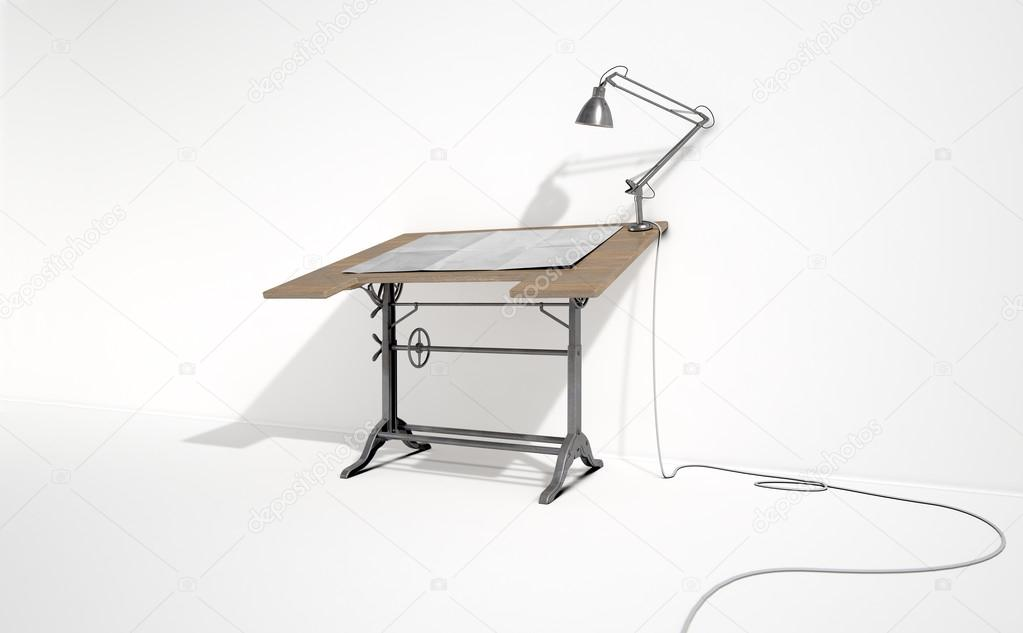 A 3d Rendering Of Vintage Draftsmans Desk With Classic Lamp And Sheet Blank Paper On An Isolated White Studio Background Photo By Albund
