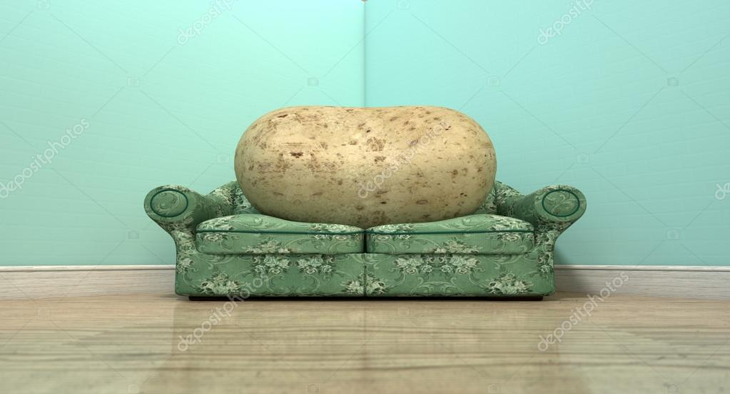 A Literal Depiction Of A Potato Sitting On An Old Vintage Sofa With A  Floral Fabric In The Corner Of An Empty Room With Light Blue Wall And A  Reflective ...
