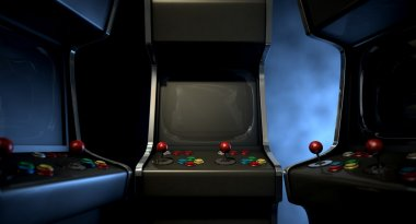A group of vintage unbranded arcade games with a joysticks and buttons and a blank screen huddled facing each other on a dark ominous background with copy space stock vector