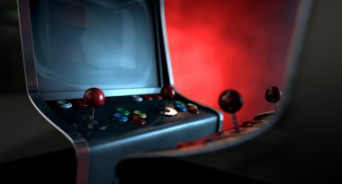 Two vintage unbranded arcade games with a joysticks and buttons and a blank screen opposing each other lit by contrasting colour schemes on a dark ominous background with copy space stock vector