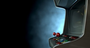A vintage unbranded arcade game with a joysticks and buttons and a blank screen on a dark ominous background with copy space stock vector