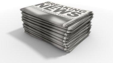 Newspaper Stack Breaking News