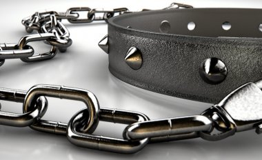 Leather Studded Collar And Chain
