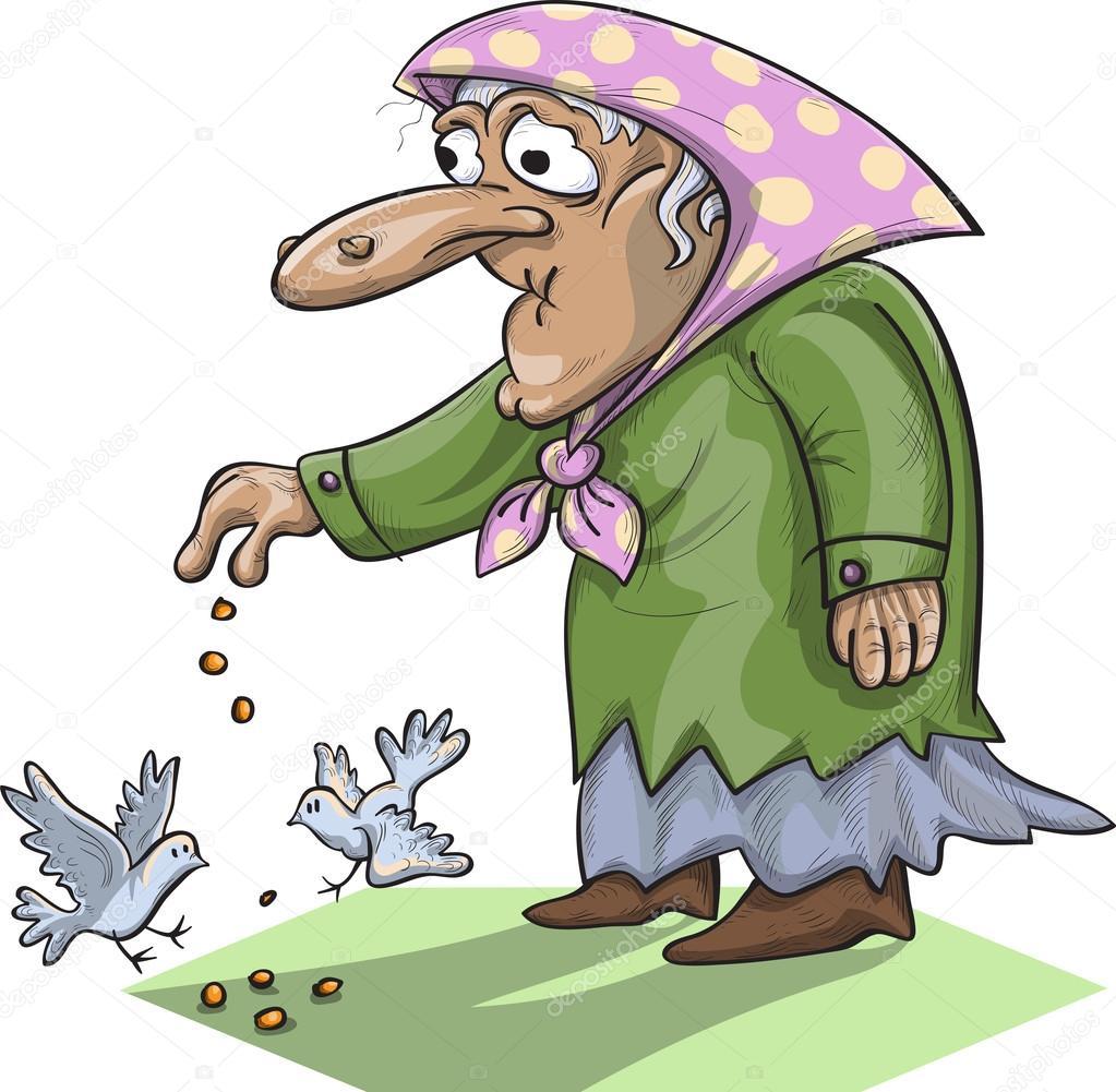 old lady feeding pigeons