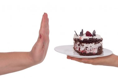 Say no to cake. Concept for obesity issue