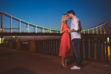 Young romantic couple standing near city river bridge in highlights at evening stock vector