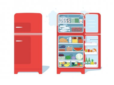 Vintage Red Closed and Opened Refrigerator Full Of Food. Vector