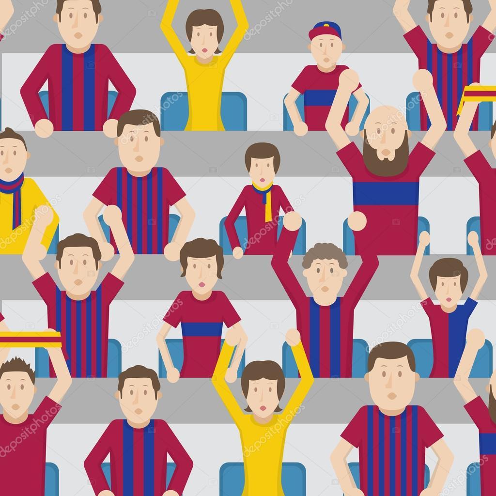 Fussball Fans Jubel Auf Der Tribune Des Stadions Farbvektor
