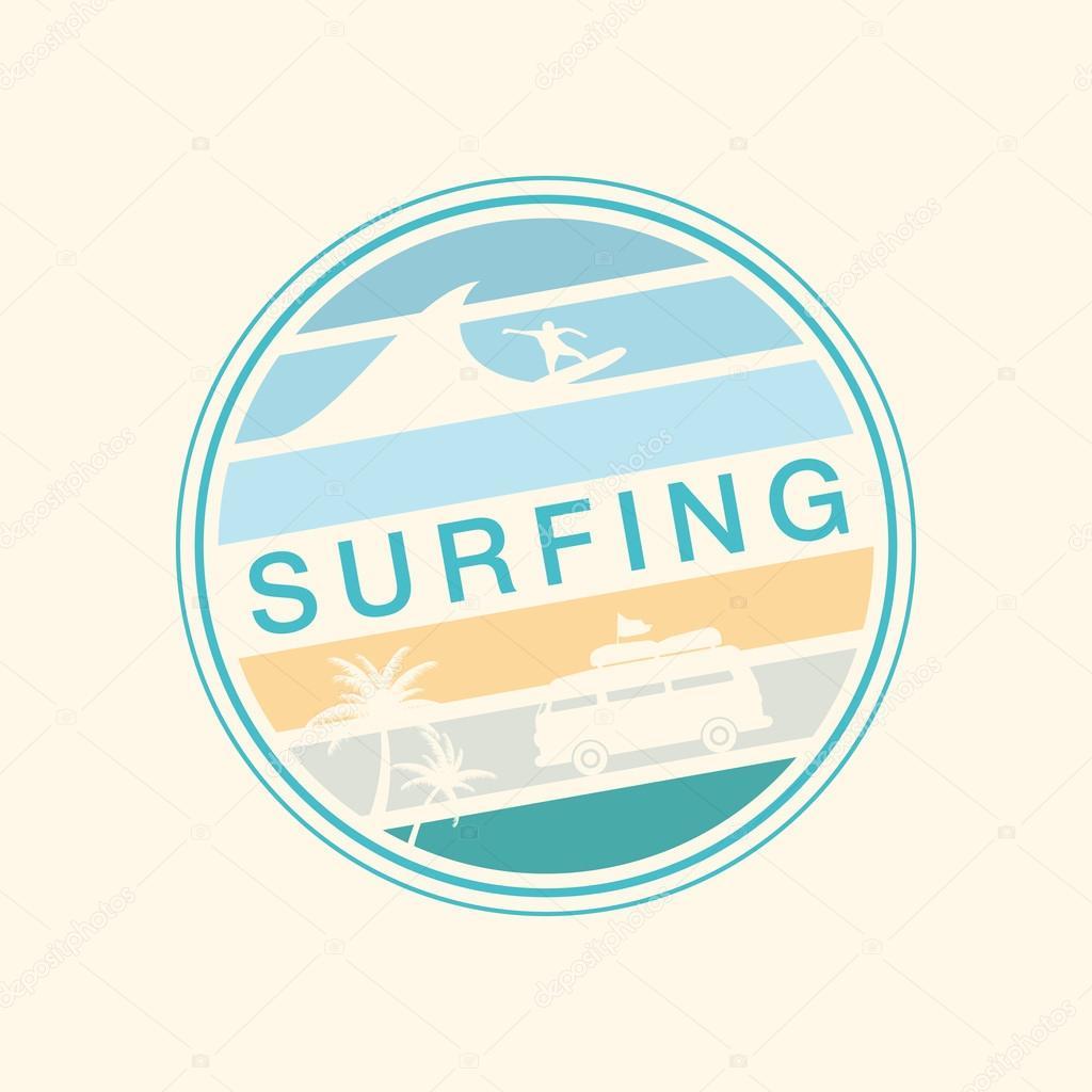 Retro Summer Poster. T-shirt Graphics. Surfing. Vector Illustrat