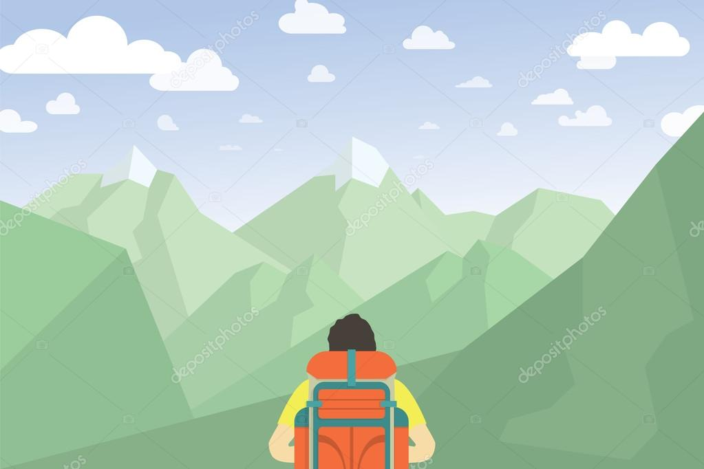 Man With Backpack Hiking. Mountain Landscape Vector Illustration