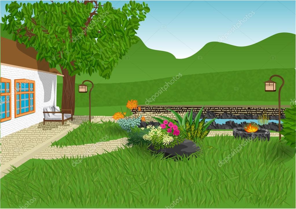 Moderner Garten Stockvektor C Arkela 81620380