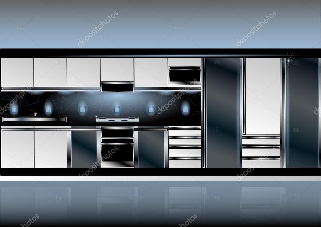 Weisse Kuche In High Tech Stil Stockvektor C Arkela 94355092