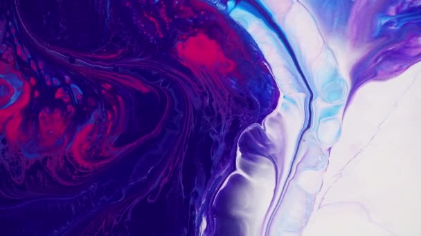 Fluid art painting video, abstract acrylic texture with flowing effect. Liquid paint mixing backdrop with splash and swirl. Detailed background motion with blue, pink and navy blue overflowing colors.
