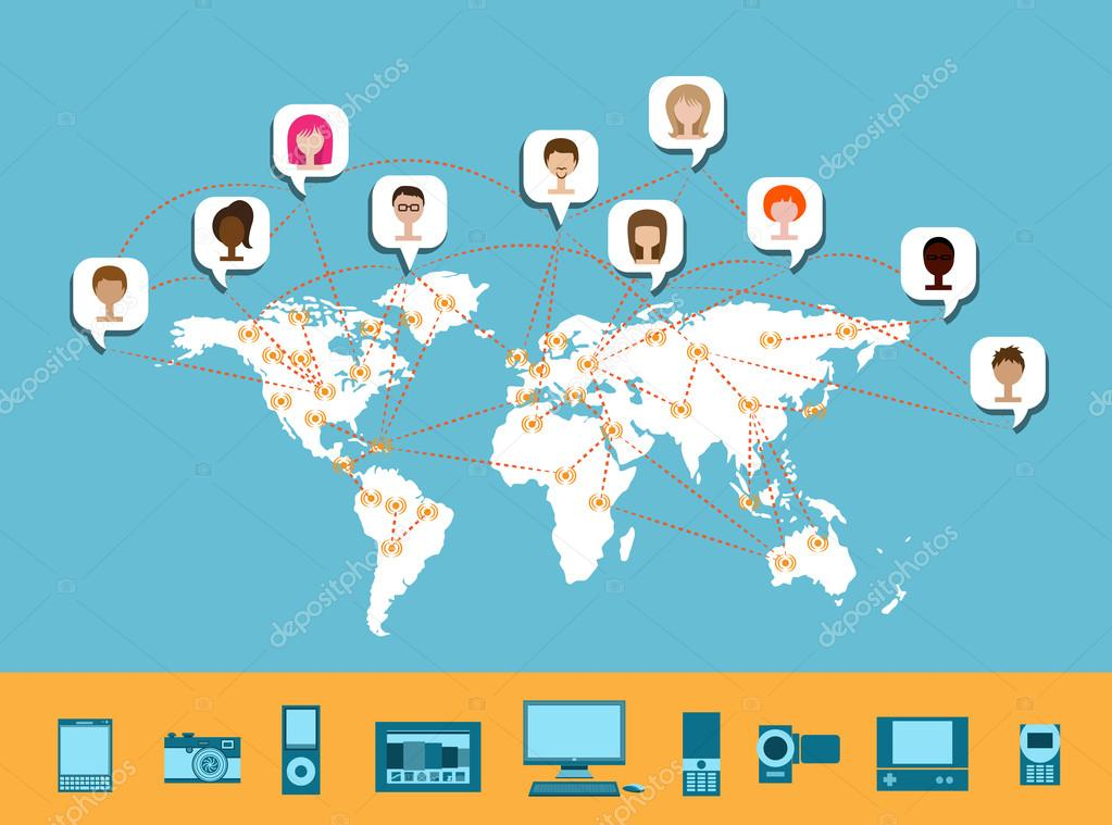 World Map Download For Computer. Concept illustration of network connection around the world  with avatars and various devices from desktop computer to mobile phones Vector by Worldwide Connectivity Stock LanaN 63220651