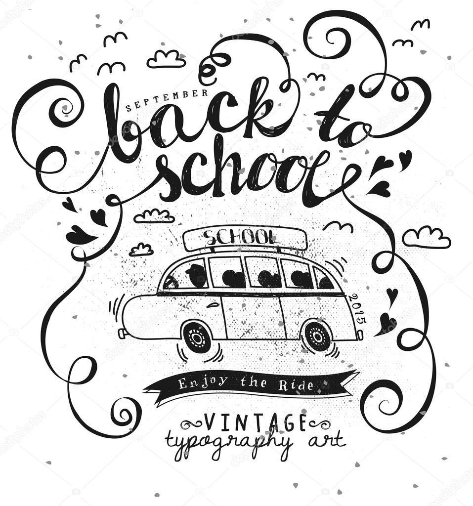 Volver a escuela tipografía Vintage Poster — Vector de stock © LanaN ...