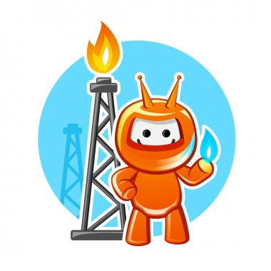 Natural gas producing industry mascot, vector illustration stock vector