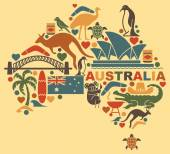Photo Australian icons in the form of a map