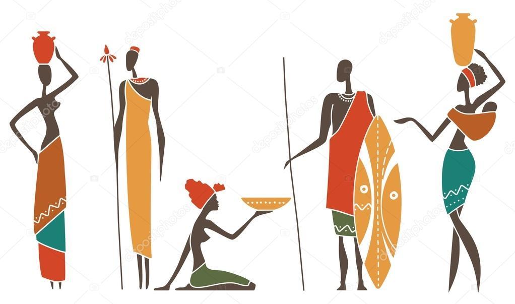 Siluetas De Mujeres Y Hombres Africanos Nativos