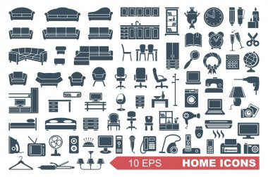 Icons of furniture and household appliances