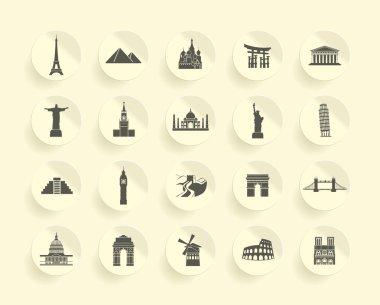 Famous Monument icons Set
