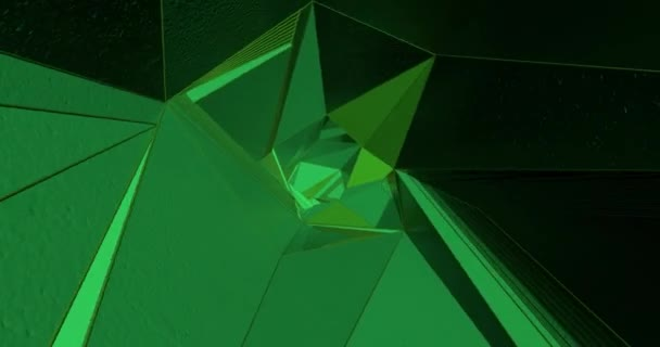 An abstract background made by triangular green figures making patterns.