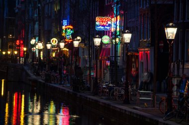 Night view of Red - light district in Amsterdam, Netherlands