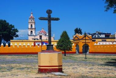 Courtyard of a church in Cholula, Puebla, Mexico
