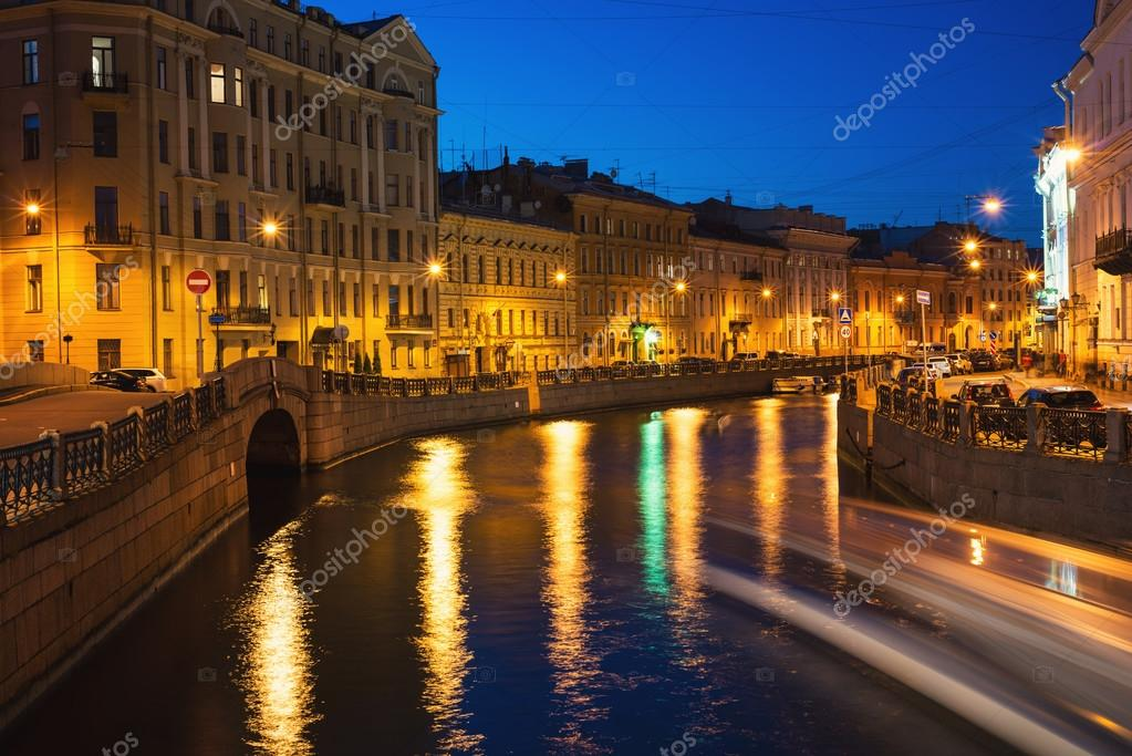 Moyka river in Saint Petersburg, Russia at night