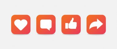 Heart, comment, thumbs up and repost symbols. Gradient social media icons isolated Vector EPS10 icon