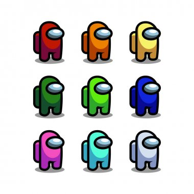 Among Us The Game Character set illustration isolated on white background Vector EPS 10 icon