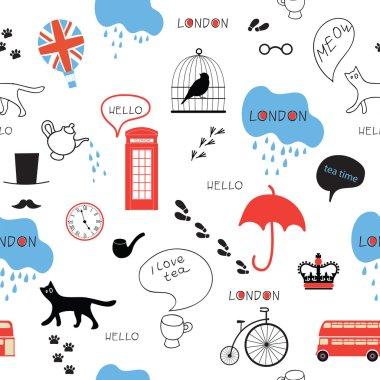 Funny London seamless pattern
