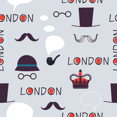 London pattern with hats and mustaches