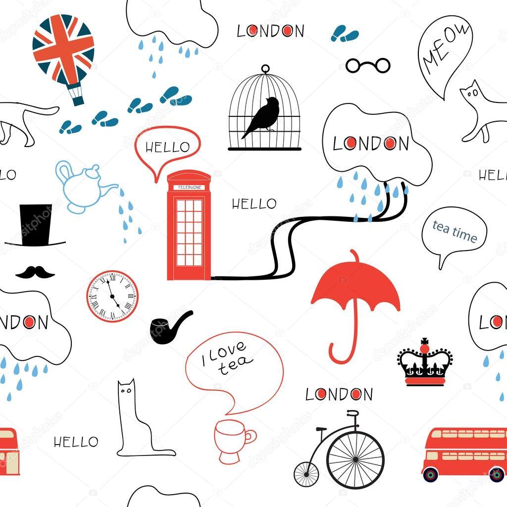 Fondo: una en ingles   Línea arte mano patrón inglés dibujado sobre ...