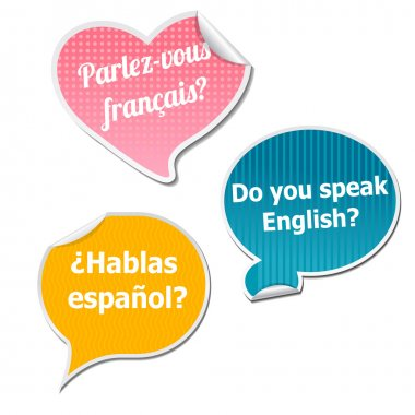 Three language stickers