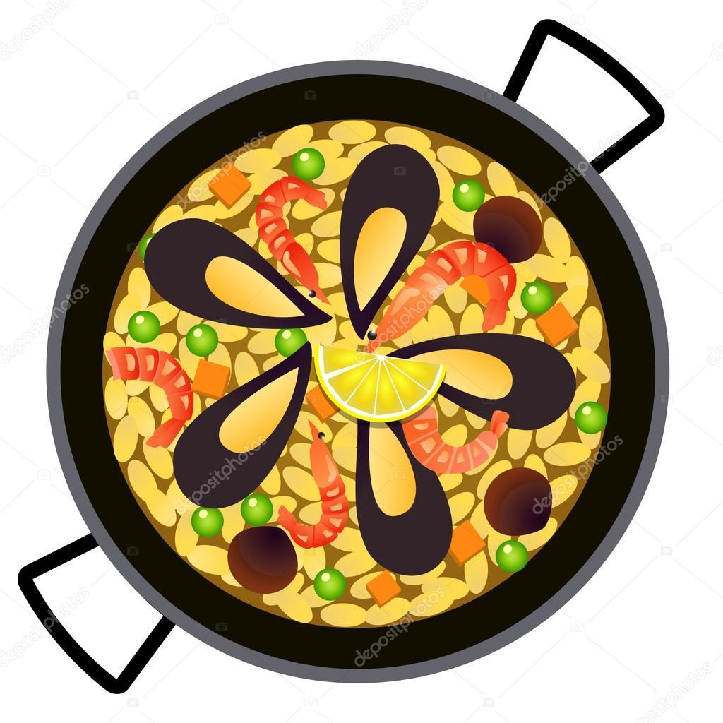 Dessin Paella spanish paella in pan — stock vector © yuyula #66503395