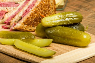 Reuben sandwich with dill pickles