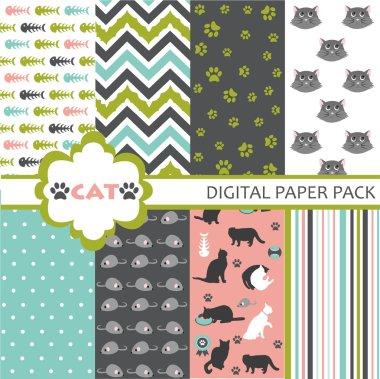 Cat Scrapbooking Paper Set