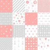 Set of pink hearts