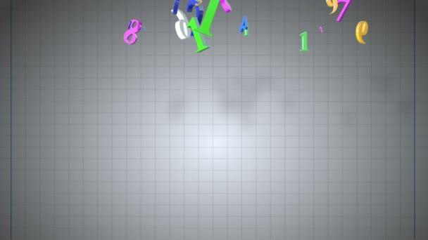 Zahlen schweben 3d auf Copybook-Hintergrund