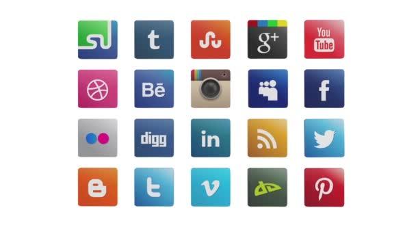 Sociální ikony, animovaný