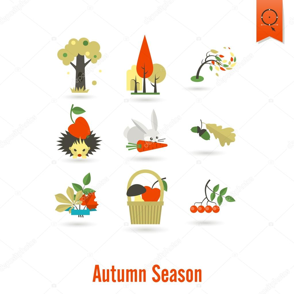 Set of Flat Autumn Icons
