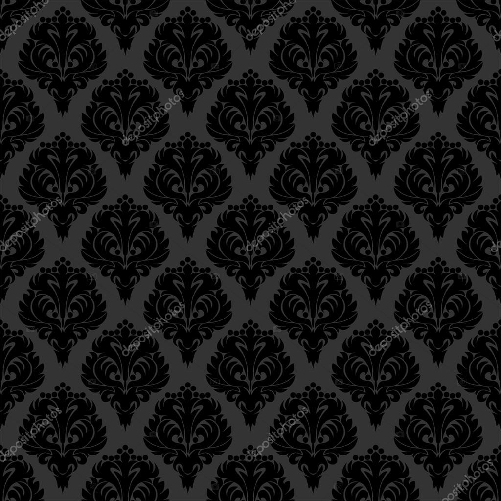 Seamless Black Damask Wallpaper Stock Vector