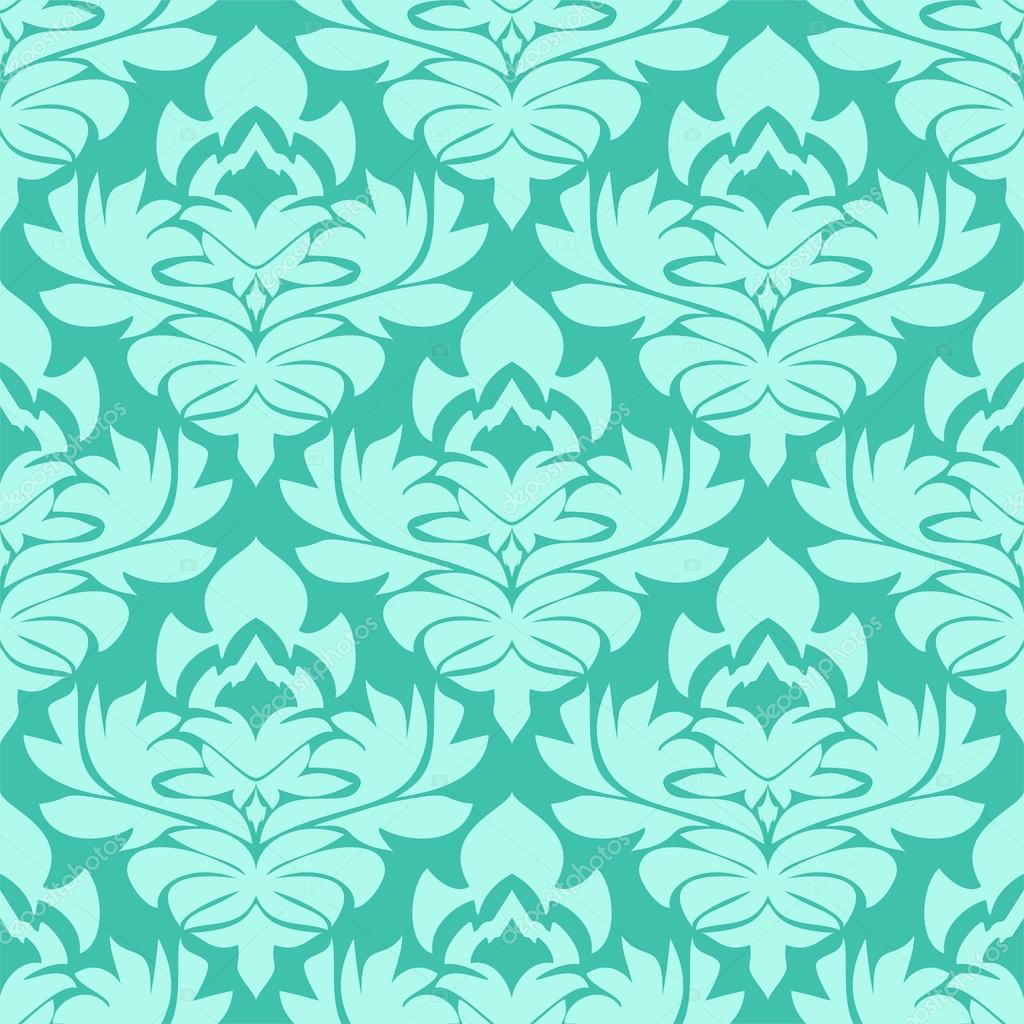 Seamless Retro Damask Wallpaper In Blue Colors