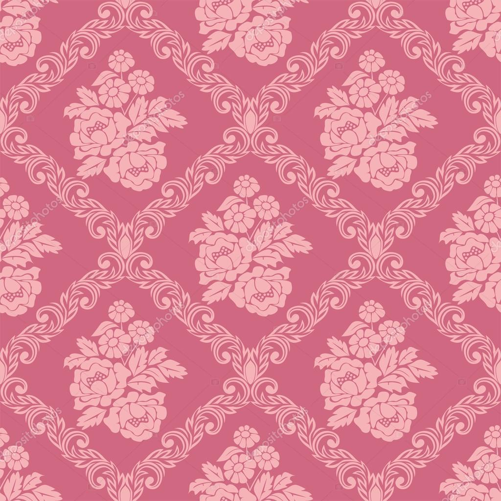 Seamless Pink Damask Wallpaper With Bouquet Flowers For Design Stock Vector
