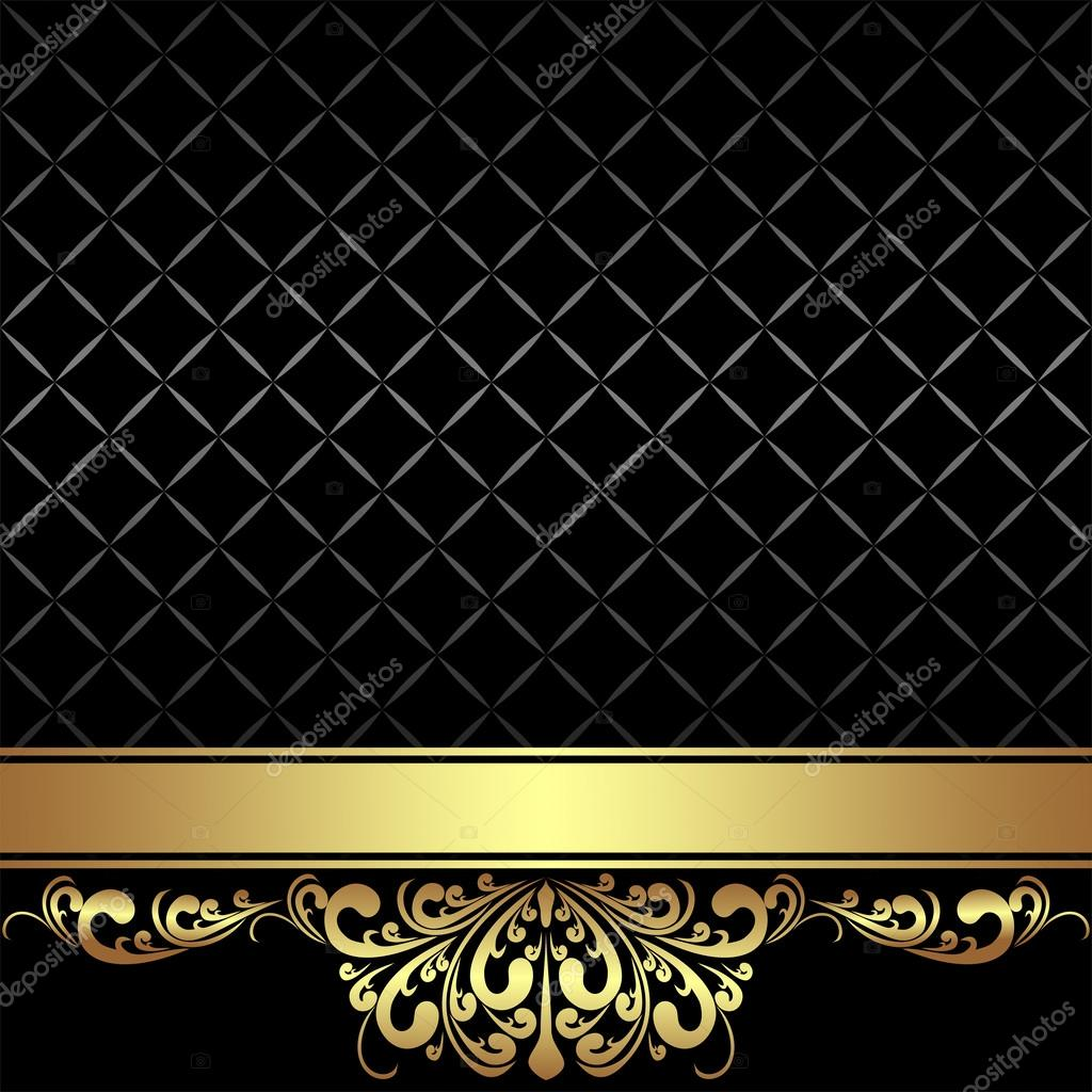 elegant black background with golden ribbon and royal